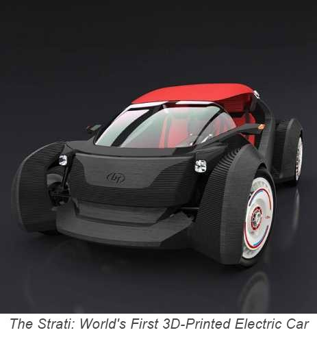 The first 3D printed vehicle. And, it's electric!