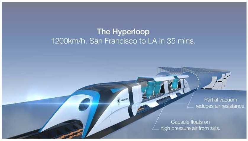 The Hyperloop with open transportation from Los Angeles to San Francisco
