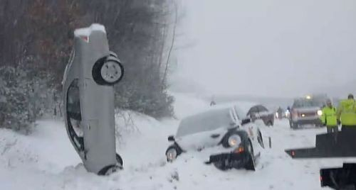 Car Crashes Caused By A Winter Storm