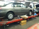Professional vehicle lifting equipment at Car Kraft Auto Body, located at Englewood, NJ, 07631, allows our damage estimators a clear view of all collision related damages.