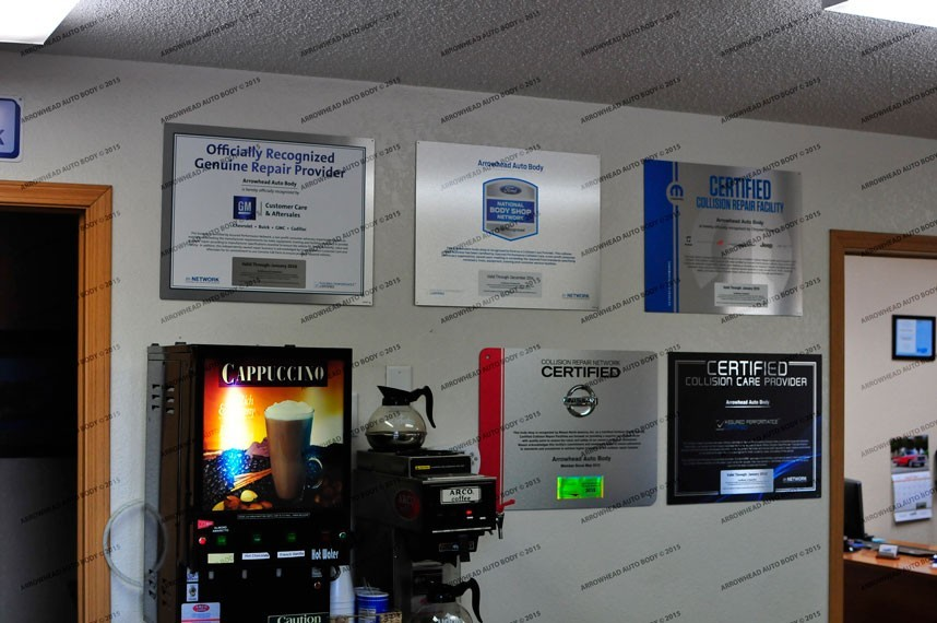 At Arrowhead Auto Body, in Hermantown, MN, we proudly post our earned certificates and awards.