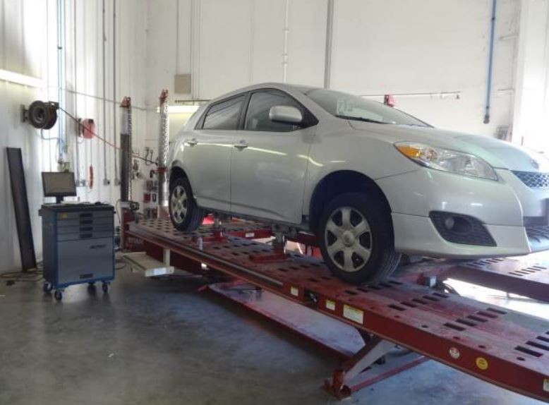 Professional vehicle lifting equipment at McCall Fort Bend Toyota Collision Center, located at Richmond, TX, 77469, allows our damage estimators a clear view of all collision related damages.