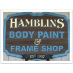 Hamblin's Body Paint & Frame Riverside CA 92503 Logo. Hamblin's Body Paint & Frame Auto body and paint. Riverside CA collision repair, body shop.
