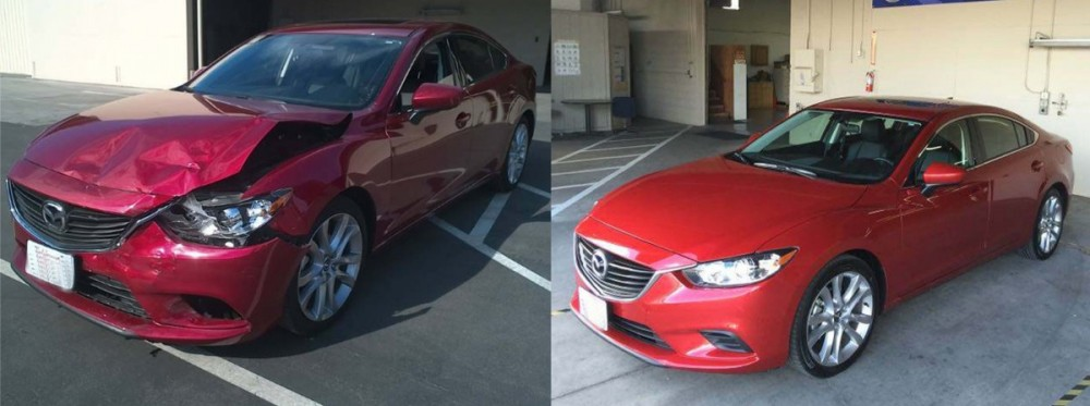 Mazda 6 before and after, with work performed by A Superior Collision Shop