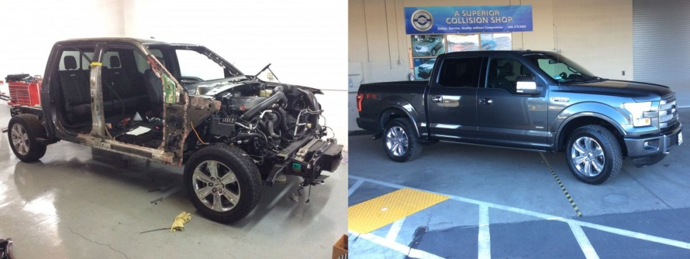 2015 F-150 Aluminum body before and after work by A Superior Collision Shop