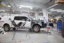 Professional vehicle lifting equipment at Collision Works - Del City OKC, located at Del City, OK, 73115, allows our damage estimators a clear view of all collision related damages.