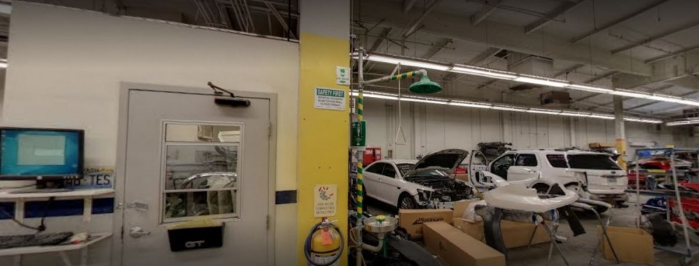 Professional vehicle lifting equipment at Friendly Ford Body Shop, located at Las Vegas, NV, 89108, allows our damage estimators a clear view of all collision related damages.
