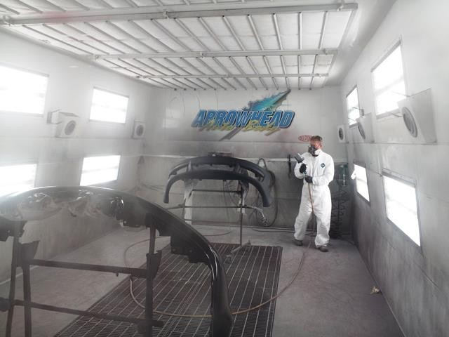 A clean and neat refinishing preparation area allows for a professional job to be done at Arrowhead Auto Body, Hermantown, MN, 55811.