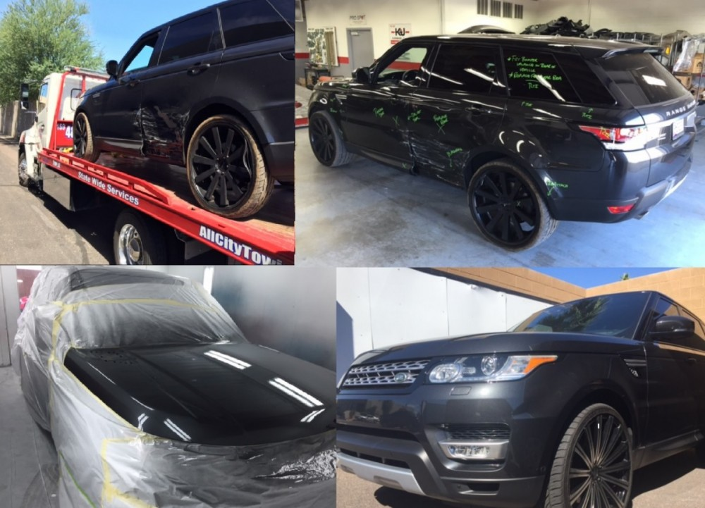 Here is an example of a repair we did on a Range Rover Repair here at Arizona Collision Center.