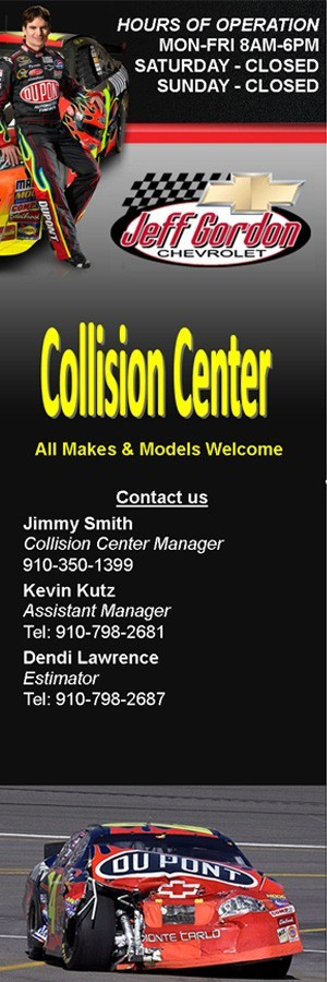 Jeff Gordon Chevrolet 228 S College Rd  Wilmington, NC 28403 Collision Repairs.  Auto Body and Painting.