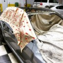 A clean and neat refinishing preparation area allows for a professional job to be done at Nola Collision, Metairie, LA, 70002.