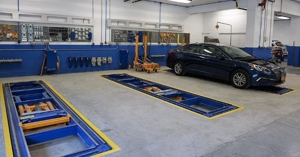 Professional vehicle lifting equipment at Fishkill Auto Body, located at Beacon, NY, 12508, allows our damage estimators a clear view of all collision related damages.