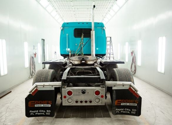 A clean and neat refinishing preparation area allows for a professional job to be done at J & J Truck & Auto Body, Rapid City, SD, 57703.