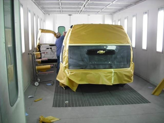 A clean and neat refinishing preparation area allows for a professional job to be done at Adamson Collision Center, Birmingham, AL, 35233.