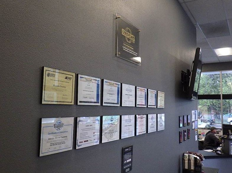 At Tripps Auto Body & Paint, in Grass Valley, CA, we proudly post our earned certificates and awards.
