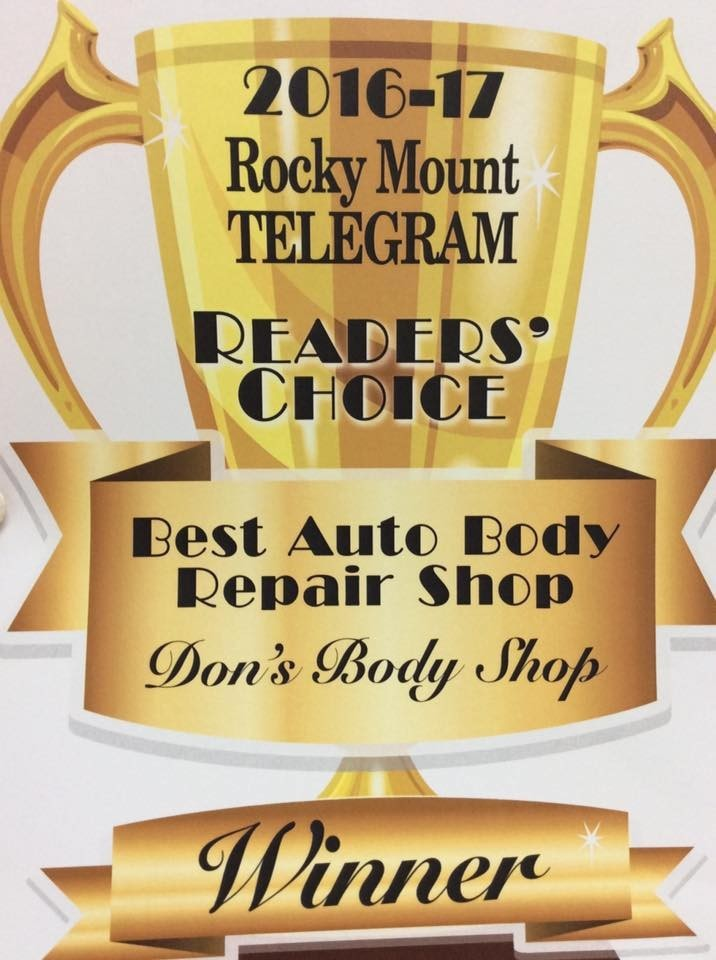 At Carstar Don's Body Shop & Collision Center, in Rocky Mount, NC, we proudly post our earned certificates and awards.
