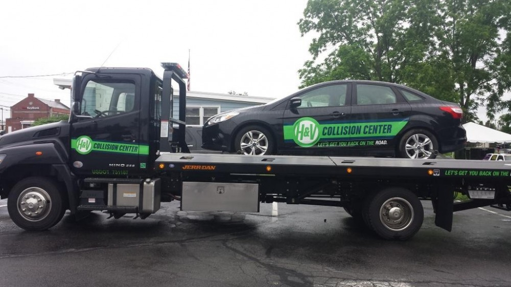 If you need help with getting your car to H & V Collision Center - Queensbury, just give us a call! We will help you get your car towed to us!