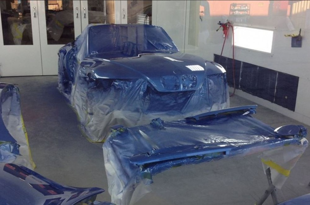 A clean and neat refinishing preparation area allows for a professional job to be done at C & C Collision, Alhambra, CA, 91803.