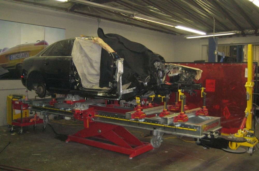 Professional vehicle lifting equipment at C & C Collision, located at Alhambra, CA, 91803, allows our damage technicians a clear view of what might be causing the problem.