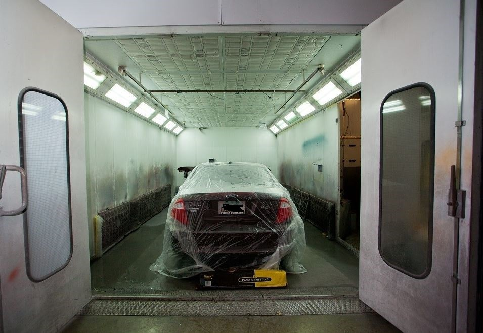 A neat and clean and professional refinishing department is located at Blue Collision, Surprise, AZ, 85378