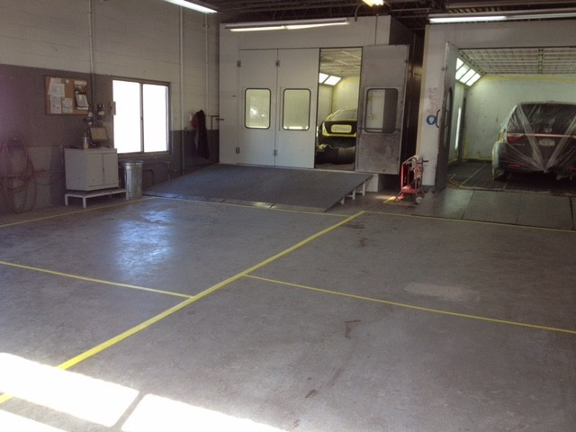 A clean and neat refinishing preparation area allows for a professional job to be done at IFM Collision Center, Bedford Hills, NY, 10507.