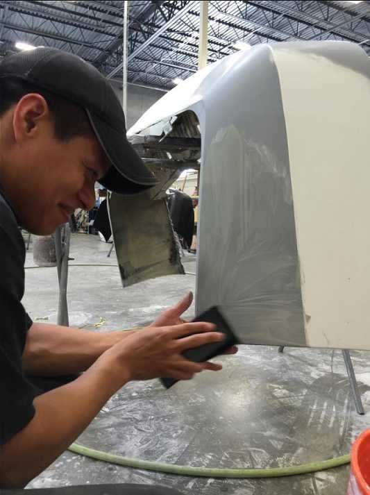 The color sand and buffing process is like putting the icing on a cake.  It just makes it better. These technicians are like jewelry polishers, they are an artist to their trade.  This process gives the vehicle's finish a mirror like feel and look.  At Earth Collision Center, Carrollton, TX, 75006, we have the best in our industry.