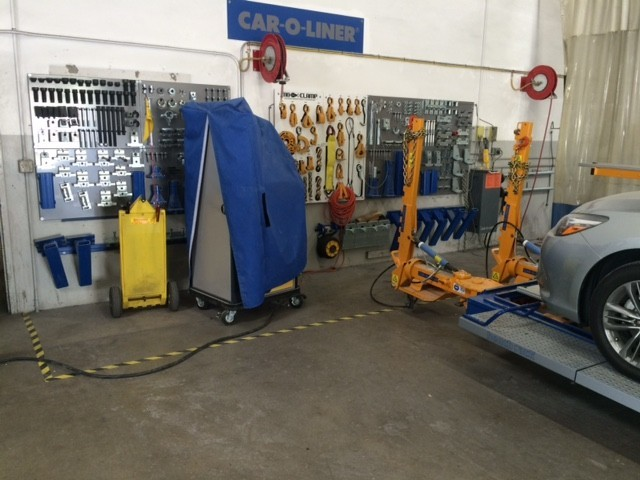 1stCertified Collision Center - San Bernardino - Professional vehicle lifting equipment at 1stCertified Collision Center - San Bernardino, located at San Bernardino, CA, 92408, allows our damage estimators a clear view of all collision related damages.
