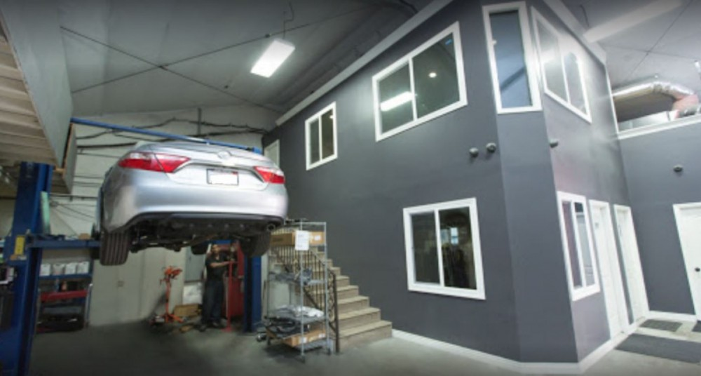 Professional vehicle lifting equipment at Premium Collision Center, Inc., located at West Hollywood, CA, 90038, allows our damage estimators a clear view of all collision related damages.