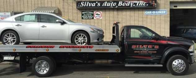 At Silva's Auto Body, Elmsford, NY, 10523, 24 hours a day we offer towing service.