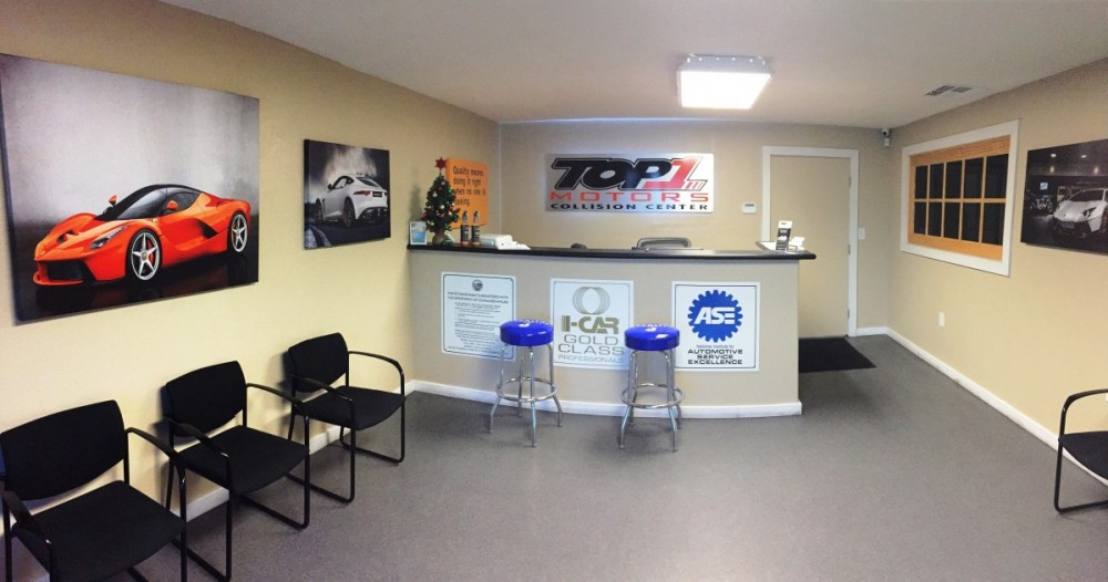 The waiting area at our body shop, located at Modesto, CA, 95356 is a comfortable and inviting place for our guests.
