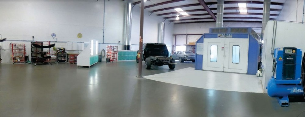 A neat and clean and professional refinishing department is located at Top One Collision Center, Modesto, CA, 95356