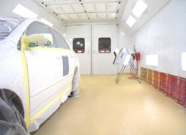 A clean and neat refinishing preparation area allows for a professional job to be done at Rocco's Collision Center Corporate, Blackwood, NJ, 08012.