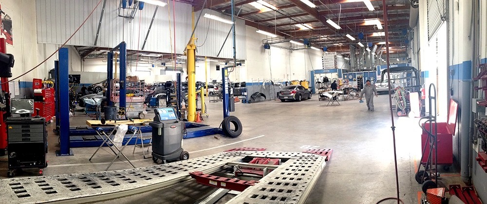 Professional vehicle lifting equipment at Tony's Body Shop, located at Oxnard, CA, 93030-1636, allows our damage estimators a clear view of all collision related damages.