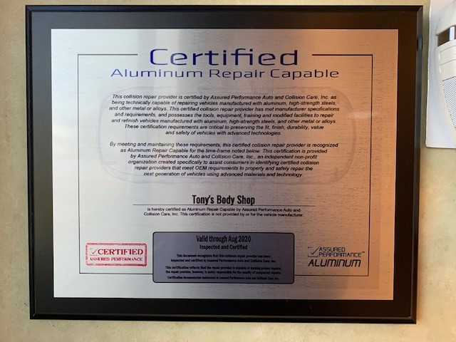 At Tony's Body Shop, in Oxnard, CA, we proudly post our earned certificates and awards.