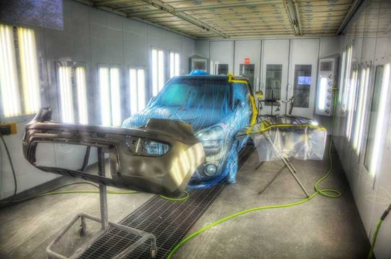 A clean and neat refinishing preparation area allows for a professional job to be done at Aerco Collision, Altoona, WI, 54720.