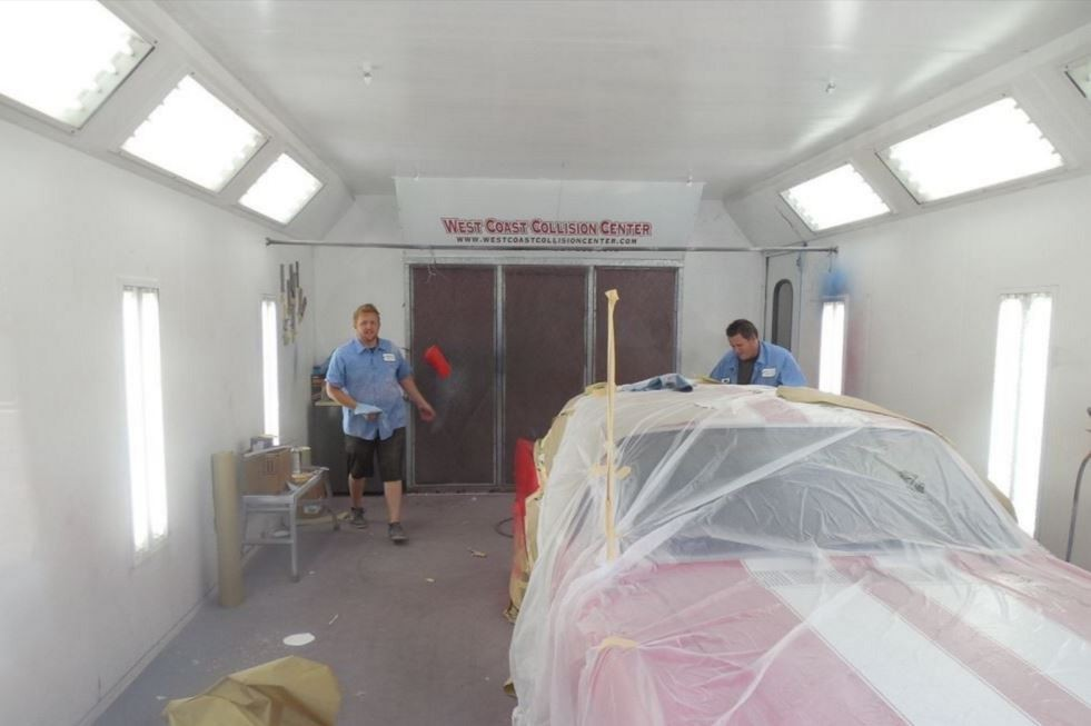 A clean and neat refinishing preparation area allows for a professional job to be done at West Coast Collision Center, Riverside, CA, [postalcode