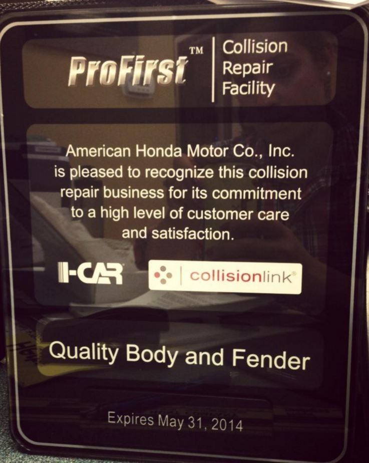 At Quality Body & Fender, in Oakland, CA, we proudly post our earned certificates and awards.