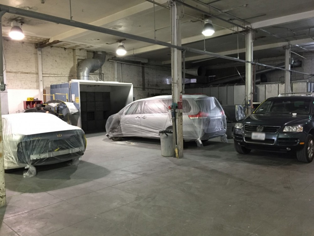 A clean and neat refinishing preparation area allows for a professional job to be done at Charles Henry Company, San Francisco, CA, 94109.