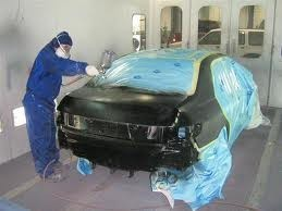Car being painted in an Atascadero Auto body shop