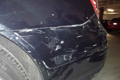 Parking lot damage on a car in Everett washington