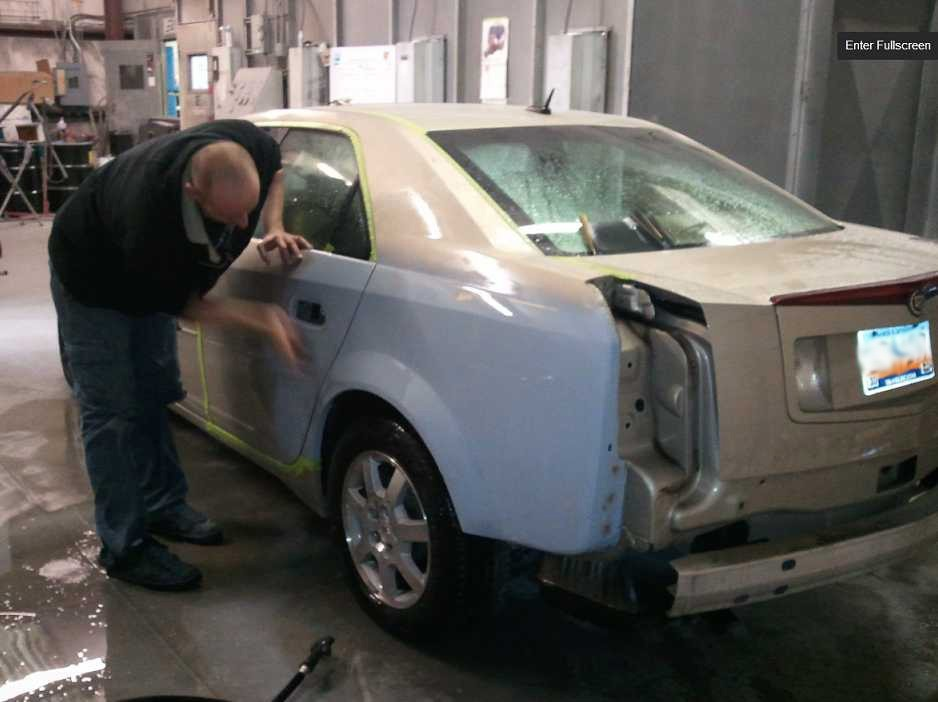 A clean and neat refinishing preparation area allows for a professional job to be done at Fender Mender, LLC, Myrtle Beach, SC, 29588.