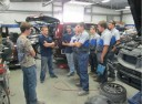 At Mudgett's Auto Body, in house training is ongoing.