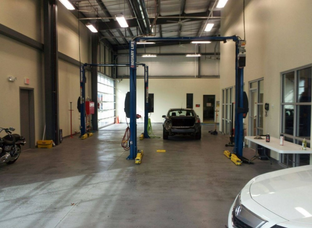 Professional vehicle lifting equipment at Car Struction, Inc., located at Chesapeake, VA, 23320, allows our damage estimators a clear view of all collision related damages.