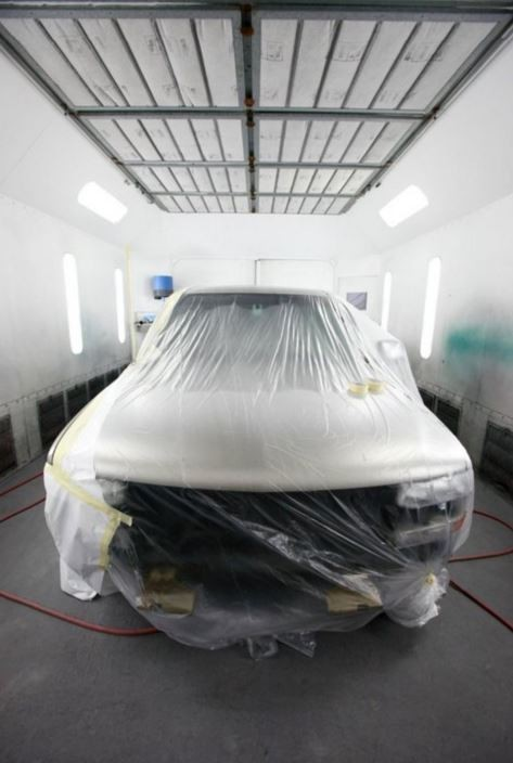 A clean and neat refinishing preparation area allows for a professional job to be done at Gava's Auto Body, San Bruno, CA, 94066.