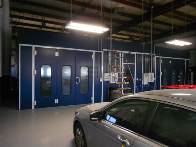 A clean and neat refinishing preparation area allows for a professional job to be done at Woody Anderson Ford Collision Center, Huntsville, AL, 35816.