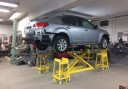 Professional vehicle lifting equipment at Dan's Auto Collision, located at Brooklyn, NY, 11236, allows our damage technicians a clear view of what might be causing the problem.