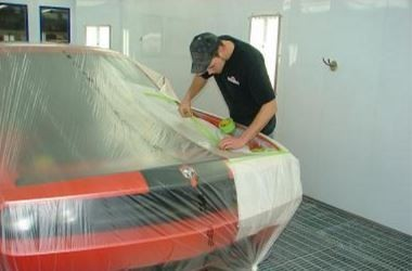 A neat and clean refinishing department is important for a quality paint job at Morrill Collision Repair Inc., Morrill, KS