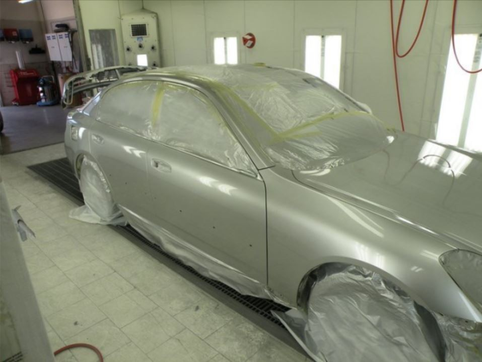 A clean and neat refinishing preparation area allows for a professional job to be done at Body Best Collision Center, Inc., Sonoma, CA, 95476.