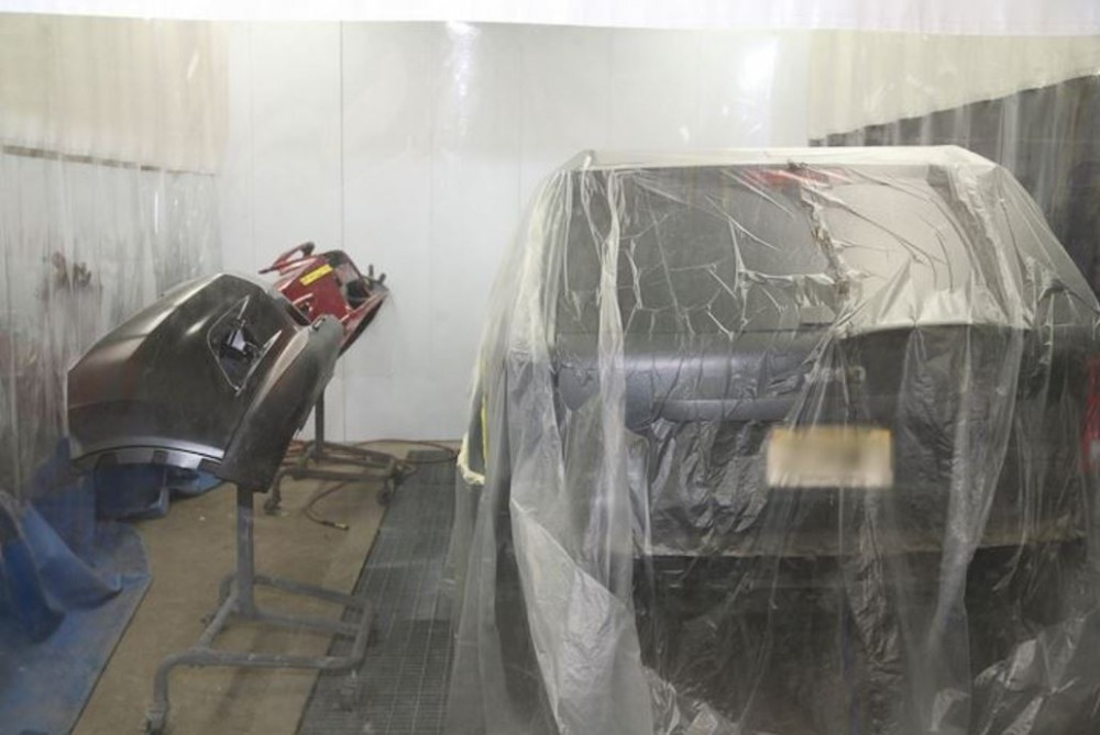 A clean and neat refinishing preparation area allows for a professional job to be done at Modern Auto Body - South Orange, South Orange, NJ, 07079.