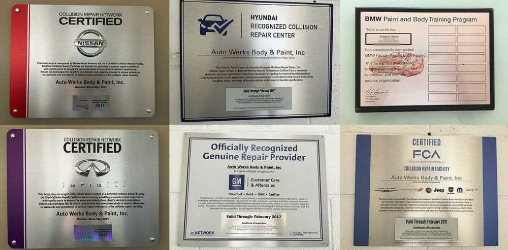 At Auto Werks Body & Paint Fix Auto Downtown El Monte, in El Monte, CA, we proudly post our earned certificates and awards.